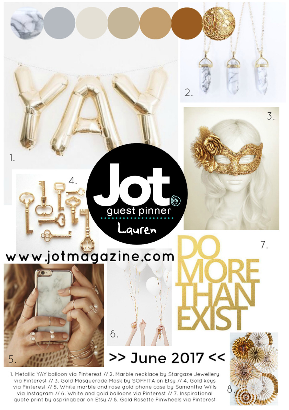 Jot Magazine June 2017 Mood Board